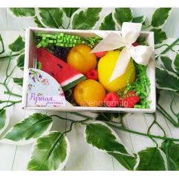 Набор фруктов в коробке №2, комплект мыла ручной работы